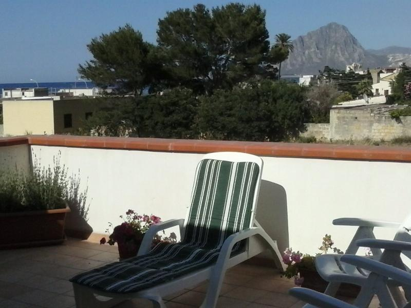 The wonderful terrace overlooking the sea. Soak up the Sun in privacy!