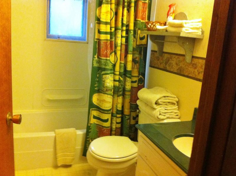Full bathroom located between twin bed double rooms.  Towels included.