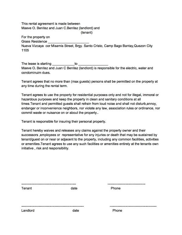 Sample of rental agreement.Copy of ID and a signed rental agreement required to process entry permit