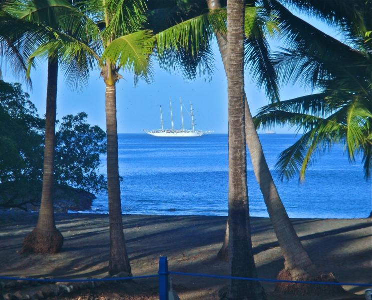 The Windstar Cruise Ship passes by 2x/week, as taken from the Lanai at Breakfast