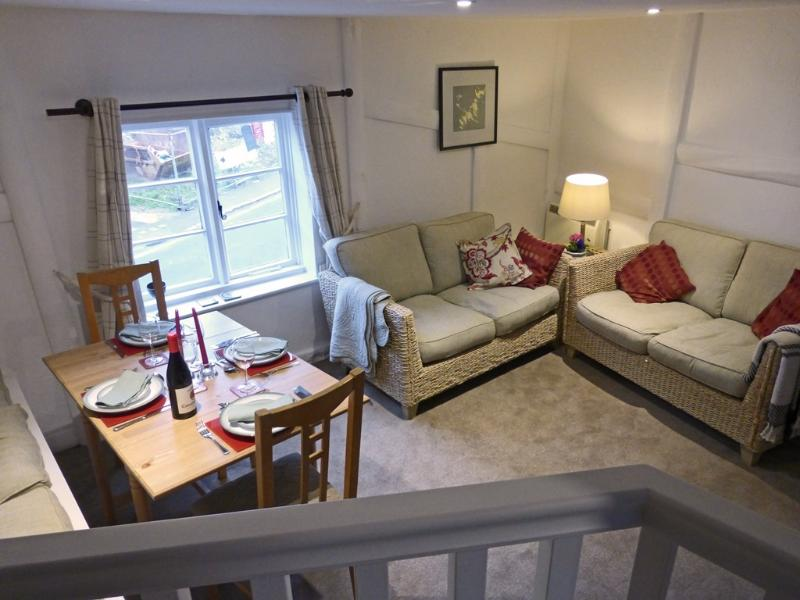 The living room, viewed from the galley kitchen