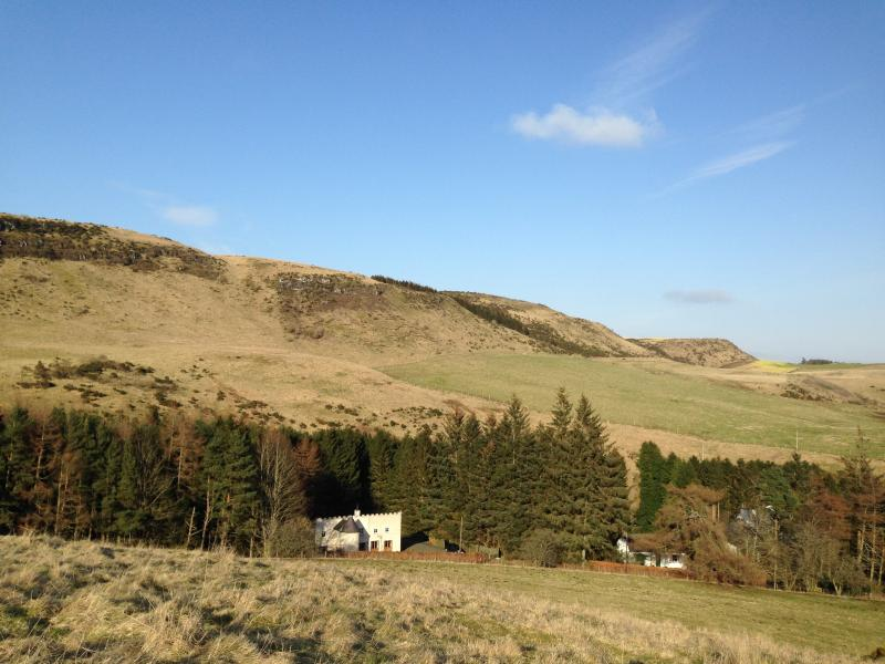 view of house from the hill-also shows lodge cottage which sleeps 6 and is also avaialable