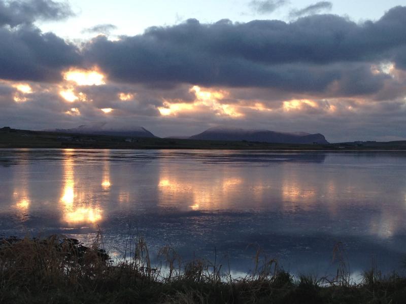 Winter sun over Stenness Loch