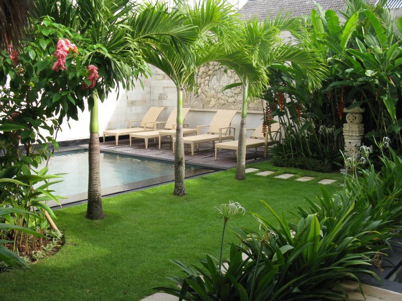 Grassed area around pool