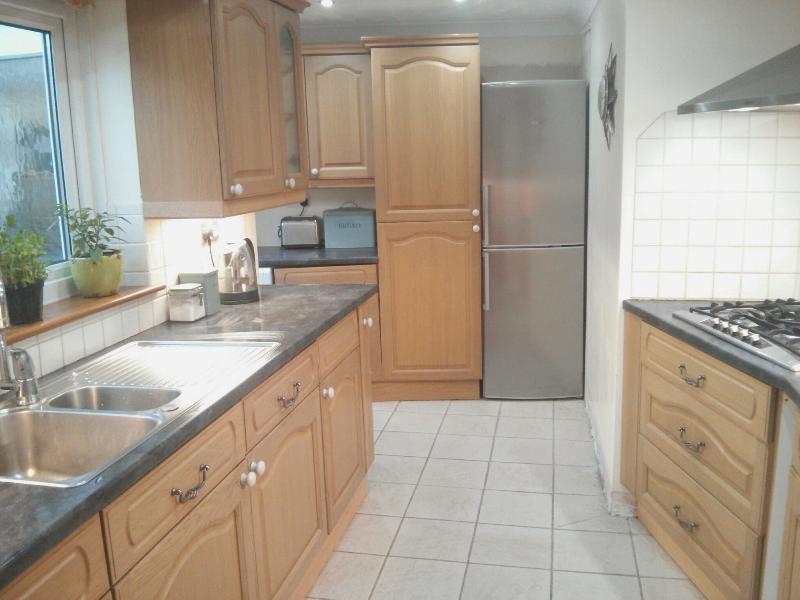 Grande cuisine ouverte avec lave-vaisselle, réfrigérateur congélateur, laveuse et sécheuse