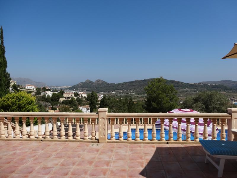 View from upper terrace overlooking the pool