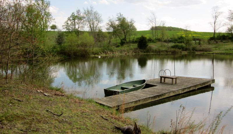 pond for rowboating and fishing
