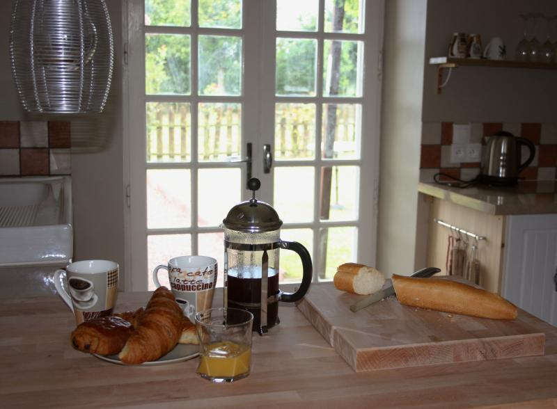 Continental breakfast on a sunny day