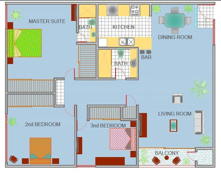 FLOOR PLAN: Three Bedroom, Two Bath, Living Room, Dining Area, Kitchen, Balcony