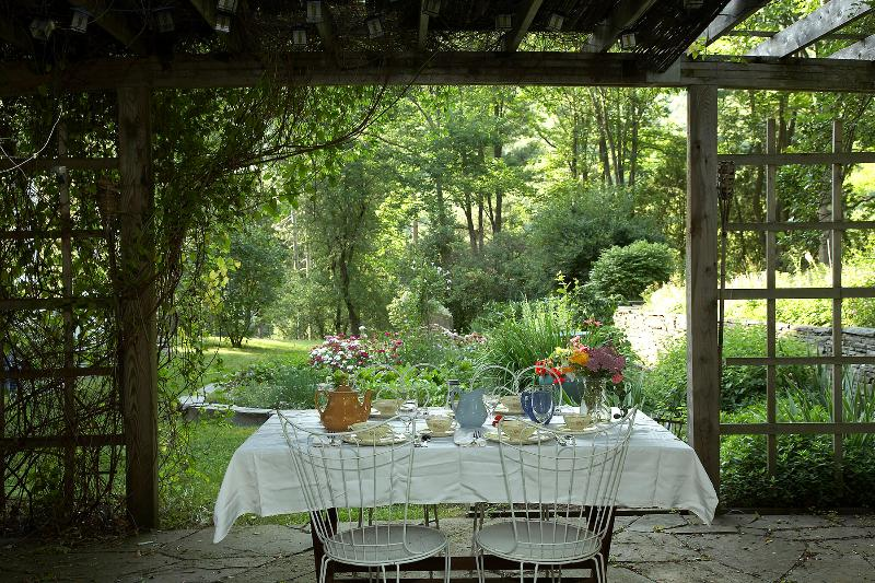 Meals under the pergola in the garden are magical.