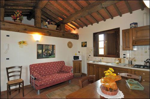 Wohnzimmer mit Kochnische und Sofabett
