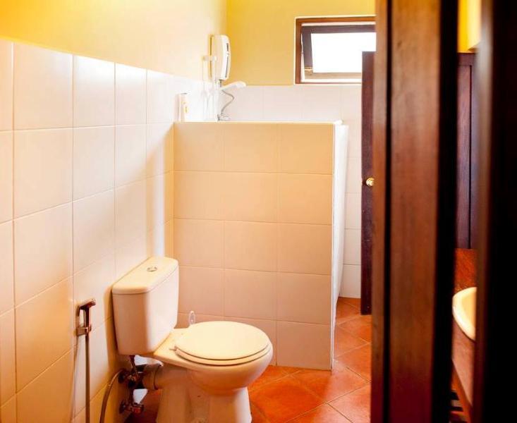 Moderna västerländska badrum med varm dusch