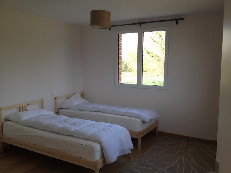 Two single beds in a double bedroom