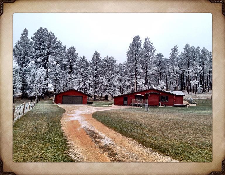 Winter scene at The Little Red Inn