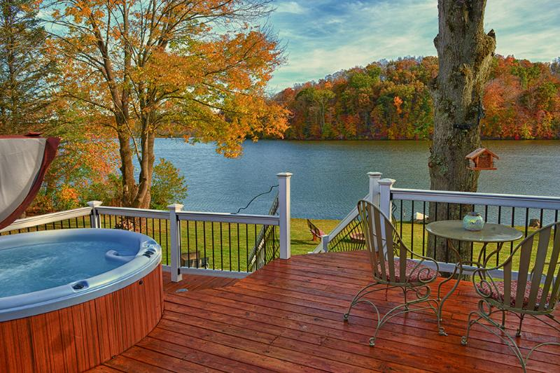 Spacious deck with hot tub and awesome views!