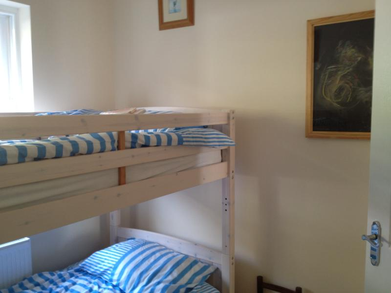 Bright bunk bedroom with fitted wardrobe
