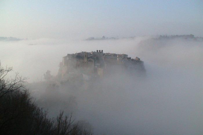 Calcata with fog