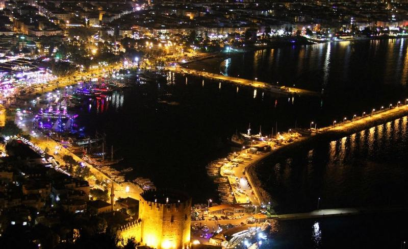 Alanya harbour at night