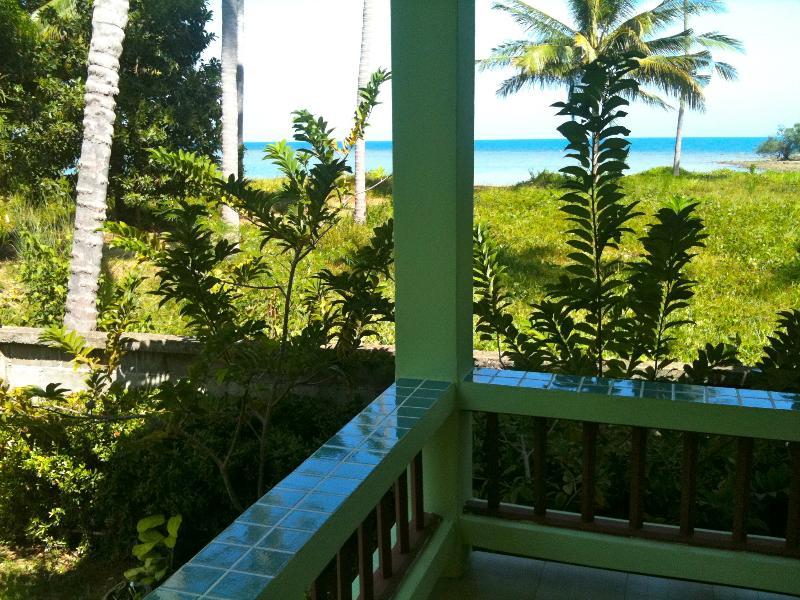 Kokosnoot vanaf het terras en uitzicht op zee