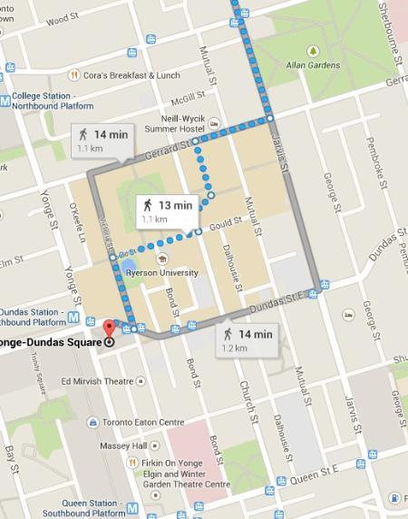 13 minutes walk to the centre of Toronto, Dundas Square. Walk everywhere!