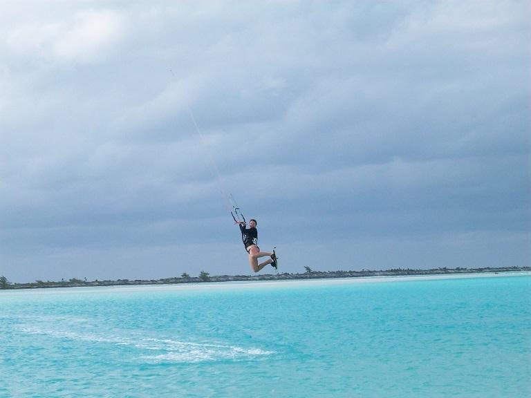 Kitesurfing between Man-O-War Cay and Moriah Cay