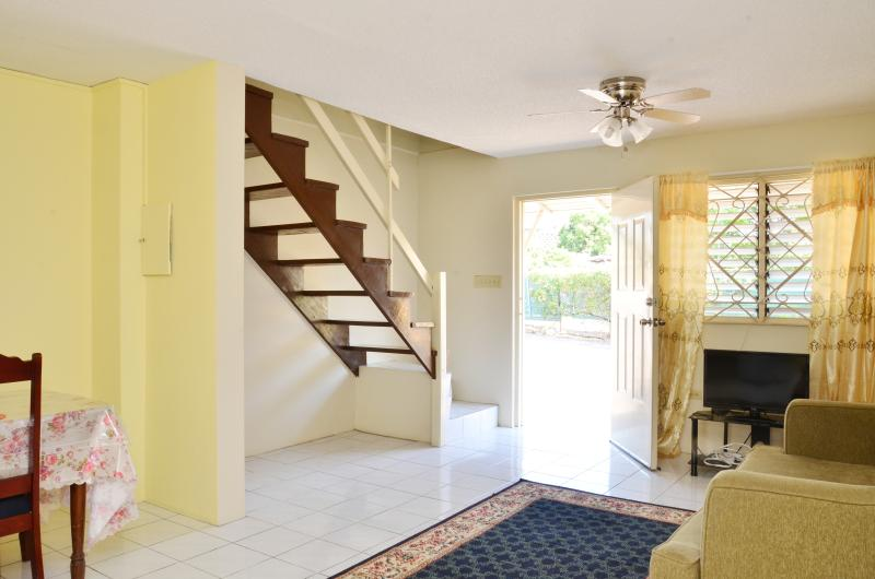 Fully furnished one bedroom unit. Living and dining downstairs, one bedroom and bathroom upstairs.