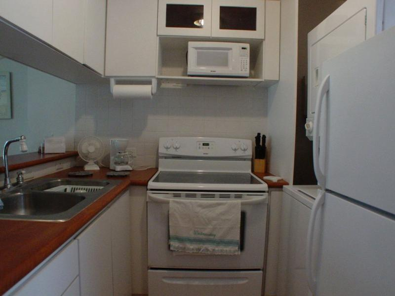 Fully equipped kitchen. with laundry area.