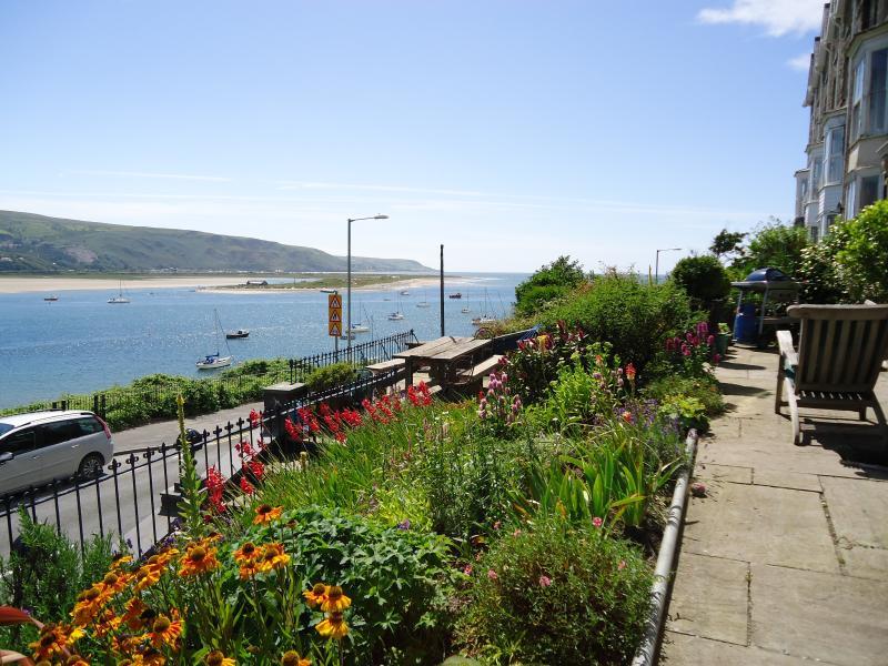 Garden terrace with seaward view