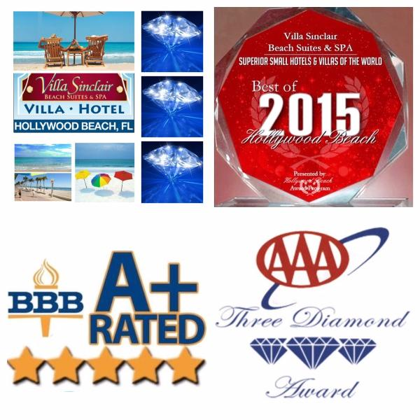 3 Diamonds AAA, BBB A+ Rated, Best of Hollywood Beach 2015 Villa Hotel