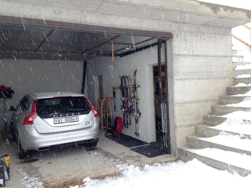 Large garage with ski storage & boot room