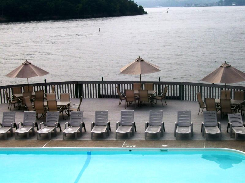 Lake Side Point Pool with Oversized Sundeck and Gazebos