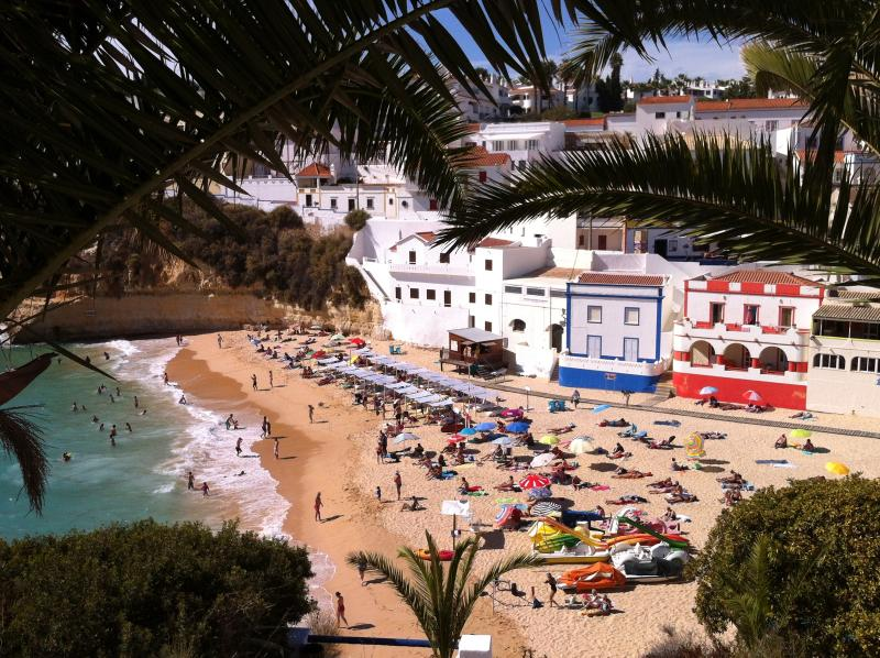 Stunning Carvoeiro beach reached within a leisurely five minute walk