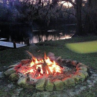 Bonfire pit at river's edge - just walk in the woods to find the kindling