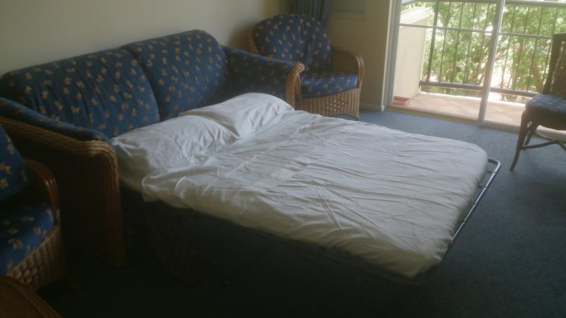 Sofa / Lounge converts to double bed, suitable for 2 children or 1 Adult