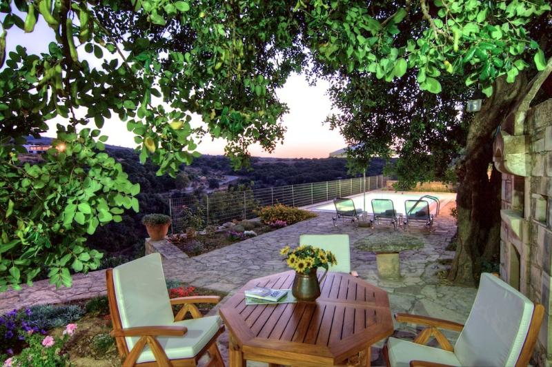 Garden, swimming pool and sitting area