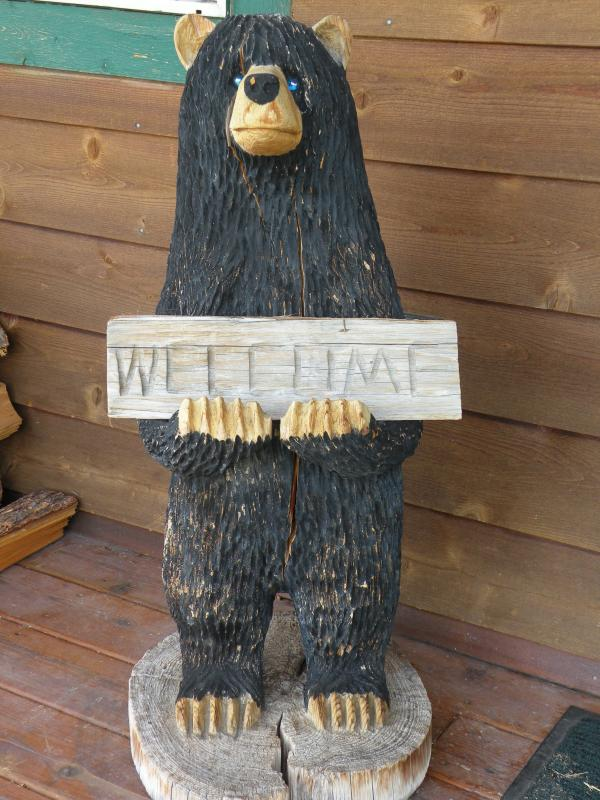 Friendly bear welcomes you to the cabin!