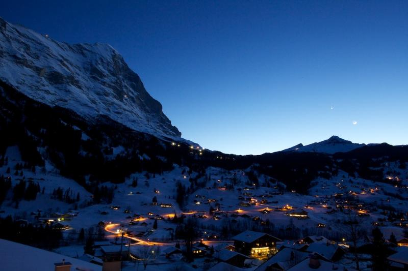 Grindelwald at night, photo taken from the Attic's