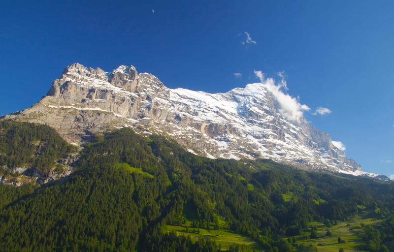 The actual view of the north face of the Eiger from Attic apartment balcony