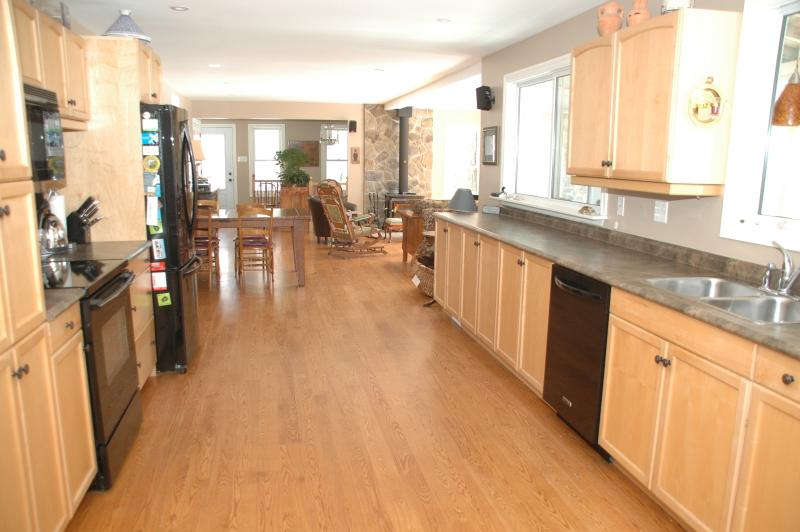 Galley kitchen with new appliances