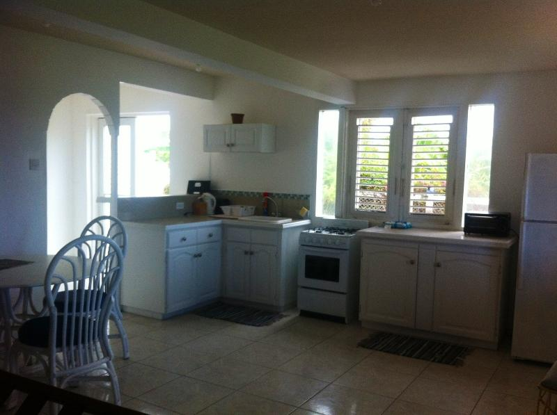 Bright and airy, well outfitted kitchen with breakfast counter and dining area