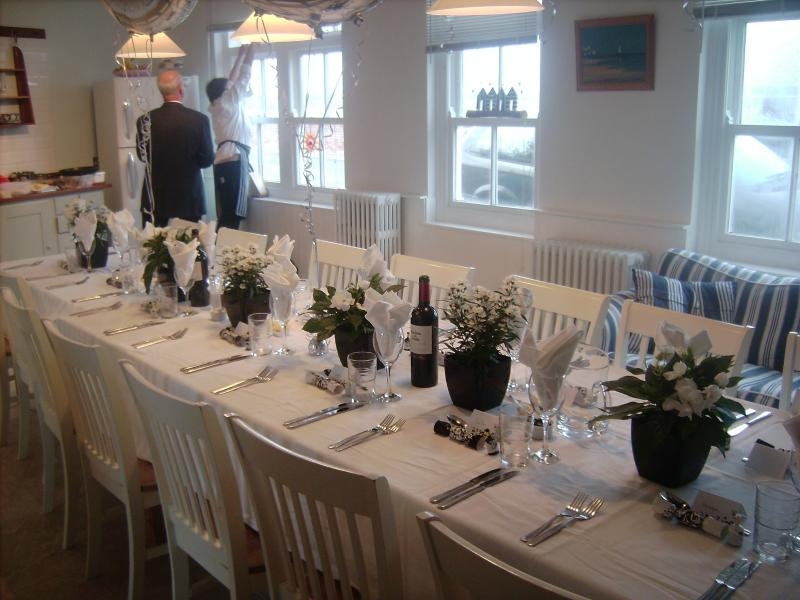 Our table in the kitchen diner will seat 16 for special occasion dinners.
