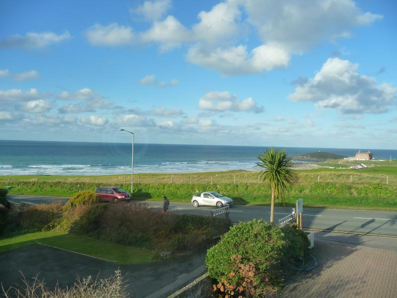 What a view to wake up to, overlooking Fistral Beach and the golf course!