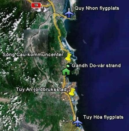 Mappa dei dintorni Ganh Do Il nostro resort è situato a nord dei militari sul mare.