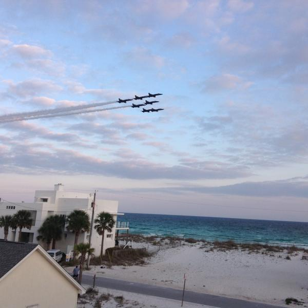 The Blue Angels flight team practice from our upper deck