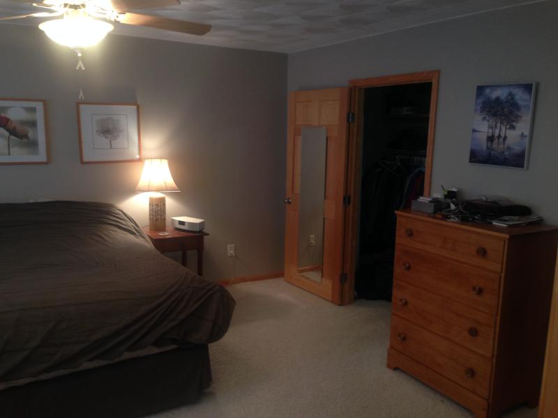 master bedroom suite with king bed, private bathroom, desk, and large walk-in closet.