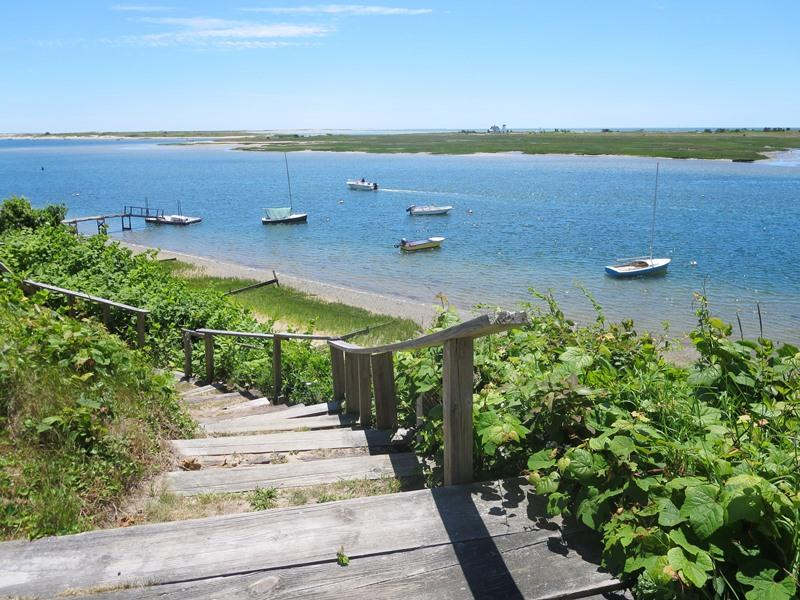 Stairs to waterfront on Oyster River. Private beach below - 30 Seabeach Road Chatham Cape Cod New England Vacation Rentals