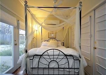 Queen bed in studio alcove