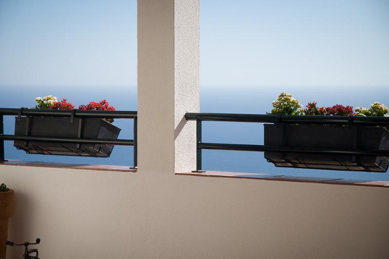 Balcony detail with stunning sea view beyond