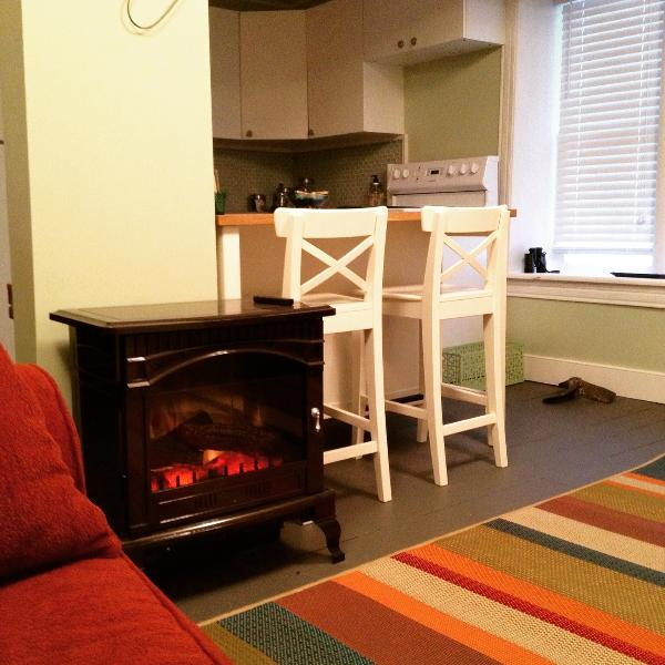 An electric woodstove in the living room keeps everyone cozy