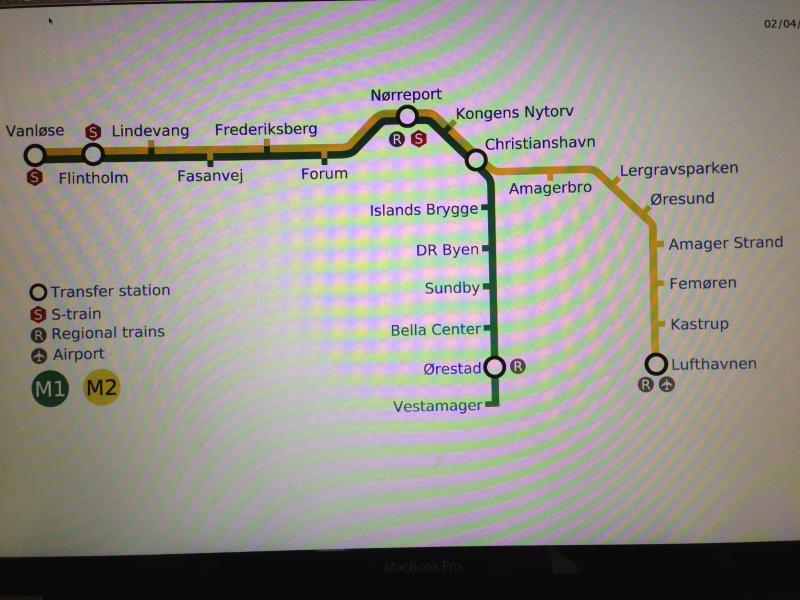Metro Map, we are located at Christianshavn st., 6 st. from the airport, 1 st.  from Strøget/nyhavn.